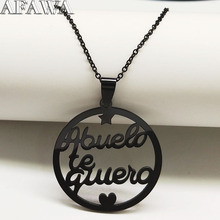2019 Fashion ABUELO Stainless Steel Statement Necklace for Men Black Color Necklaces Jewelry accesorios mujer N18853