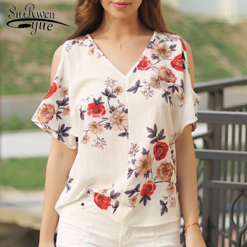 New 2018 Summer Short Sleeve Women Clothing Fashion Plus Size Print Chiffon Women Shirt Blouse V-neck Women Tops Blusas D704 30 ...