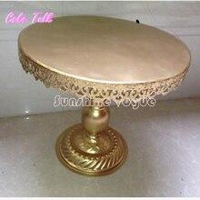 Oro metal hierro barware herramientas de decoración de la torta de boda del soporte de 14 pulgadas de soporte de oro vajilla partido proveedor
