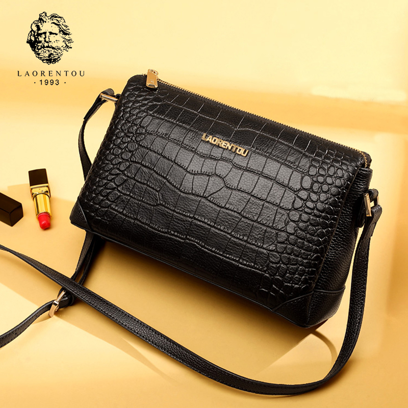 LAORENTOU Brand Lady Fashion Small Messageer Bags Vintage Women Cow Leather Crossbody Bag Female Alligator Flap