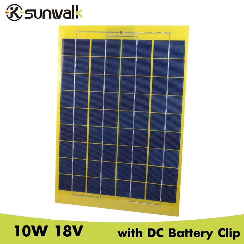 SUNWALK 10W 18V Solar Panel with DC Battery Alligator Clip Mono Solar Panel 18V Module for DIY Solar system Charging 12V Battery