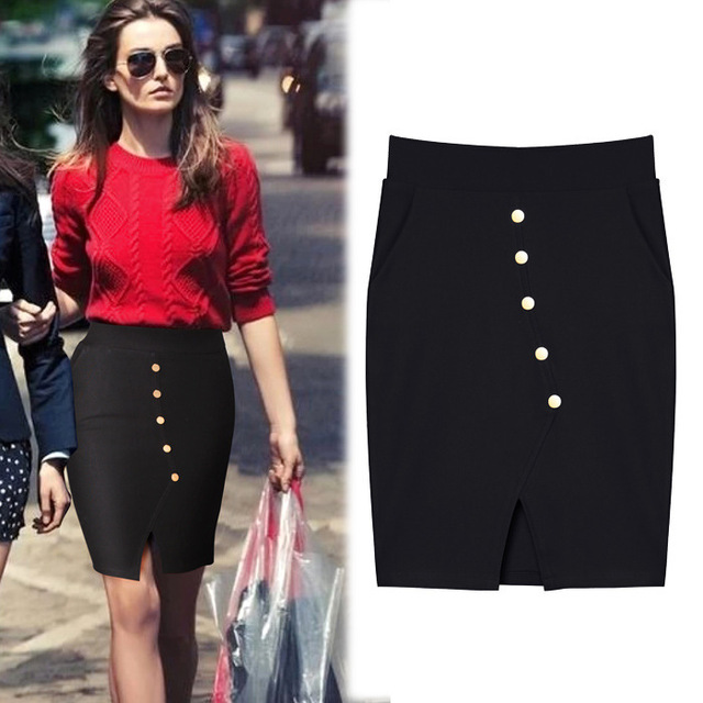 8bae10a4f euopean and american style sexy package hip short skirt fashion casual red  buttons front slit pencil skirts with pocket