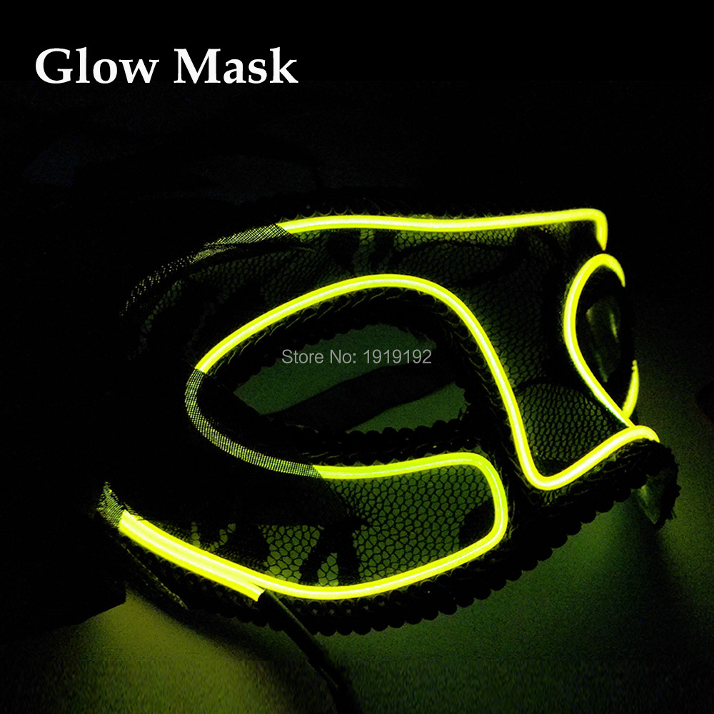 New design Wedding Party Supplies 10 Color Select el wire Queen mask Sound Activated led mask For Valentines day Decoration