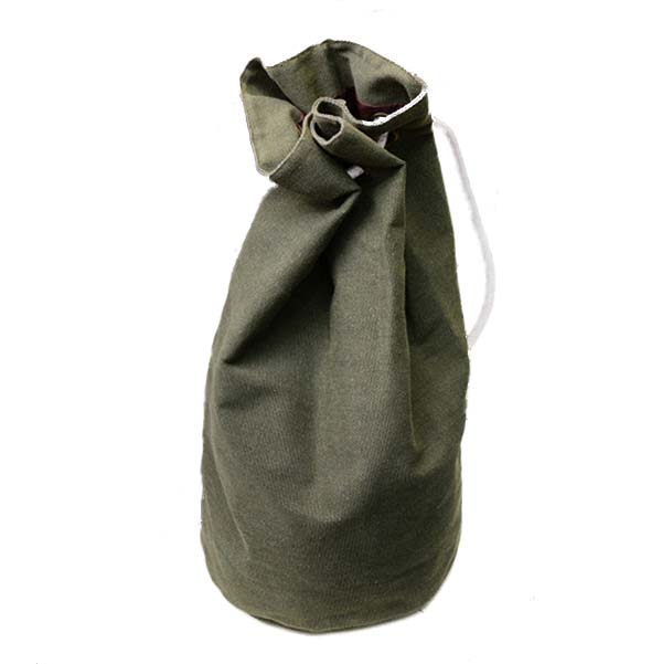Canvas Backpack Large Drawstring Bucket Bag , Army Green