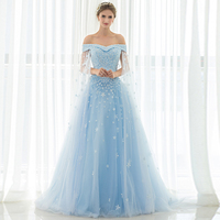 Sky Blue Beading Appliques Tulle Prom Gowns Gorgeous Off The Shoulder Evening Gowns Floor Length Party Dresses Custom Made