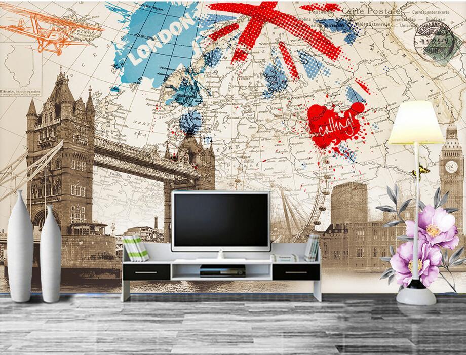 Papier peint 3d personnalisé, style britannique rétro londres bâtiment carte papier peint, bar ktv restaurant salon chambre TV mur papier peint de parede