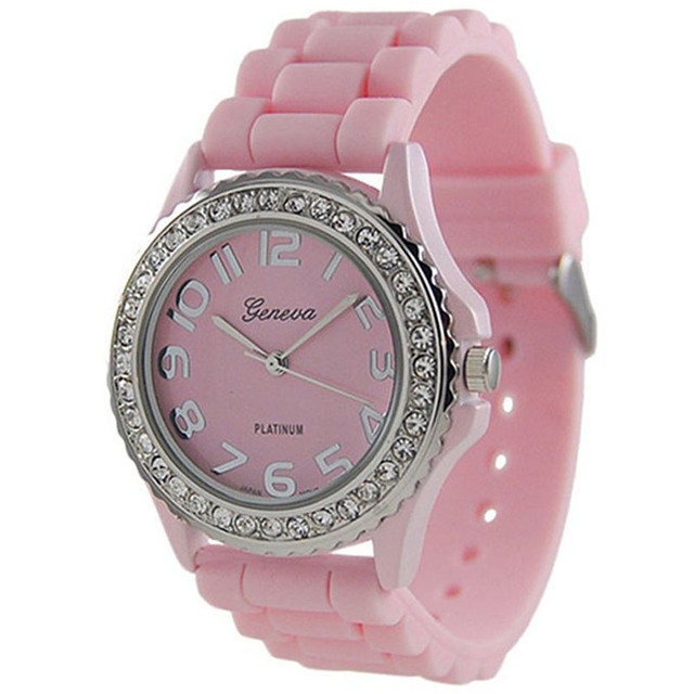 Geneva Platinum CZ Accented curren Silicon Link Simple Watch Large Face sport Br