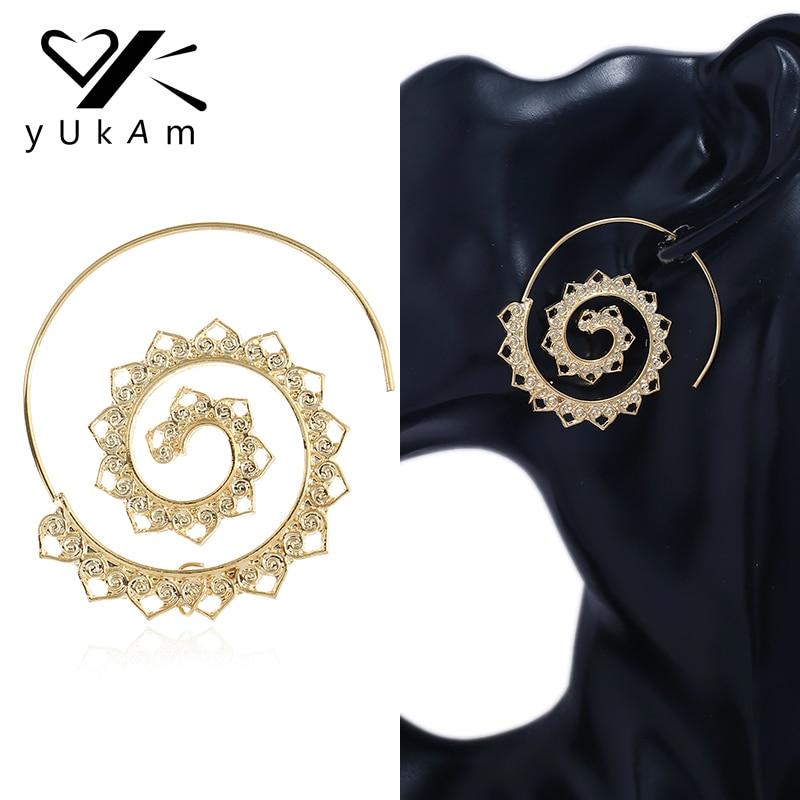 Gold Spiral Tribal Boho Hoop Earrings UK Seller