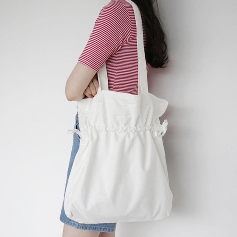 Canvas Shopping Bag Large Shoulder Bags Drawstring Design Handbags Reusable Shopping Eco Foldable Beach Tote Bags