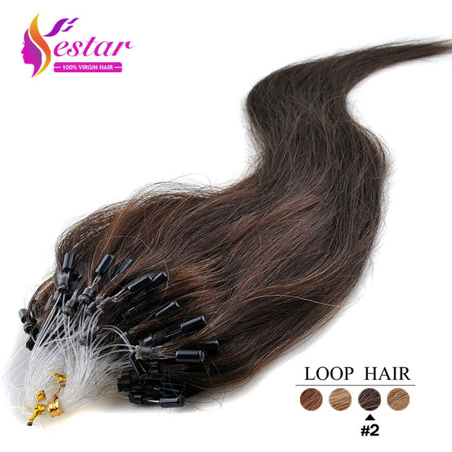 Micro Loop Hair Extensions Indian Remy Virgin Hair Silky Straight Human Hair Micro Rings Links Hair Extension Straight Human 2 In Micro Loop Ring