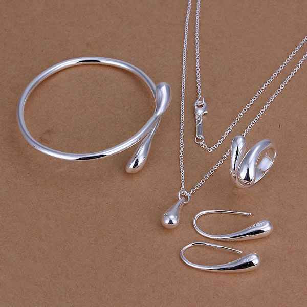 Factory price water drop jewellery silver plated jewelry sets necklace bracelet bangle earring ring free shipping GY-ST158