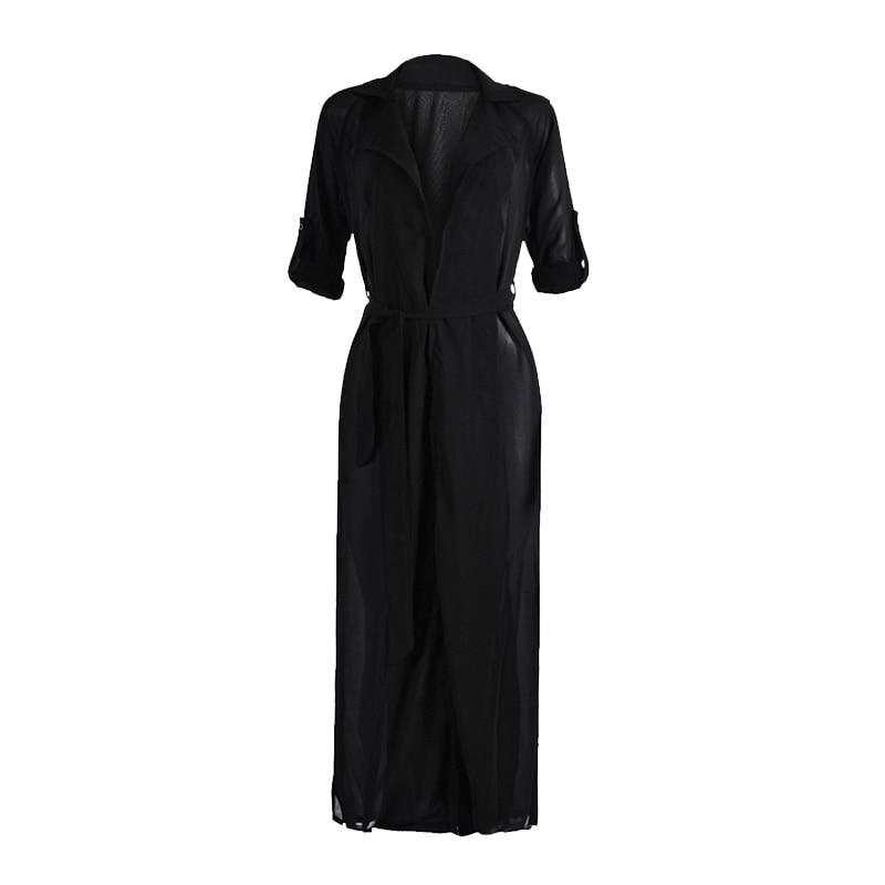 Fashion Women Maxi Cardigan Chiffon Coat Ankle Length Long Sleeve Oversized Solid Tops Coats -MX8