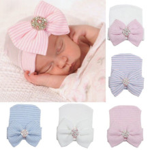 Cute Newborn Baby Infant Girl Toddler Comfy Bowknot Hospital Cap Beanie Hat(China)