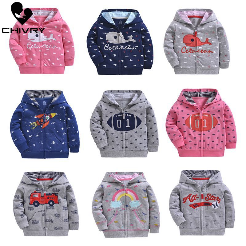 Chivry 2019 Children Hoodies Sweatshirts Boys Girl Kids Cartoon Print Zipper Cotton Tops Baby Boys Casual Spring Autumn Clothes
