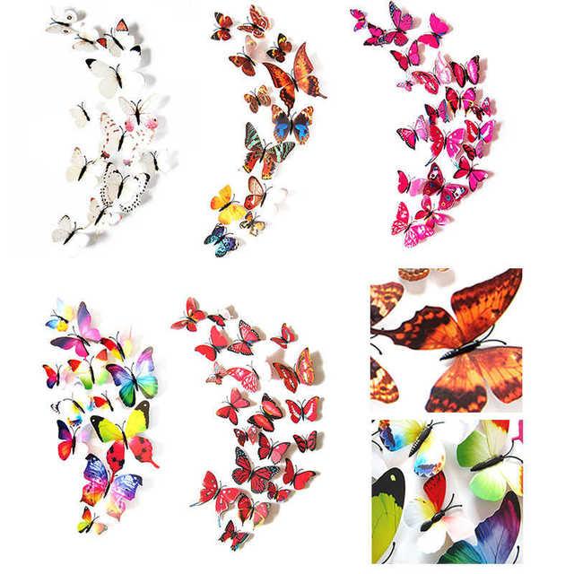 Nueva inclusión 3D DIY, pegatinas de pared, imán de nevera, decoración del hogar, pegatinas de mariposa de dibujos animados, decoración de habitación, adhesivo mural creativo