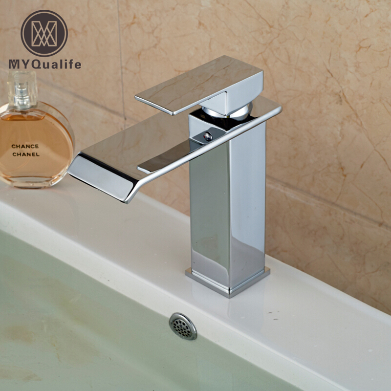 Free shipping Chrome Basin Sink Faucet Single Handle One Hole with Hot and Cold Water Bathroom Mixer Taps цена и фото