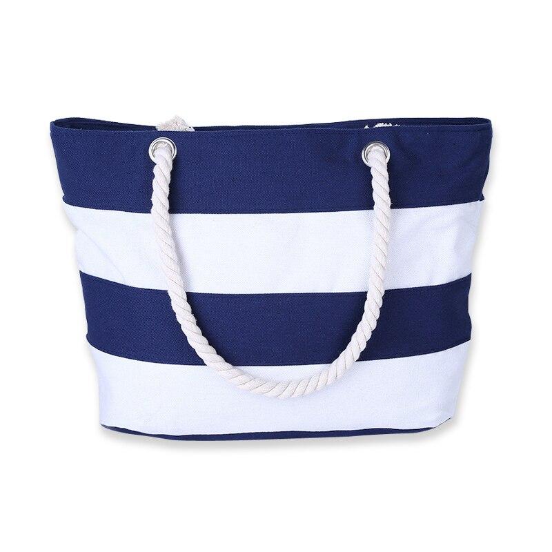 5) TEXU Women Canvas Bag Fashion Stripes Printing Handbags Ladies Large Shoulder Bag Totes Casual Bag Shopping Bags(Blue) bags handbags women digital printing beautiful floral canvas shoulder bags bag female