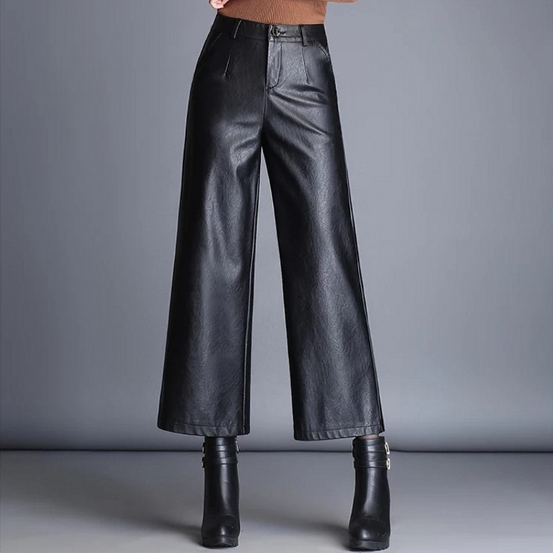 2018 Autumn Pu Leather   Wide     Leg     Pants   Women Black Elastic Bottoms For Female Loose Ankle Length Points Trousers Ladies