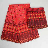 African Bazin Riche Getzner With Beads 2yard Nigerian Gele Headtie Tulle Lace For Wedding Brocade Material