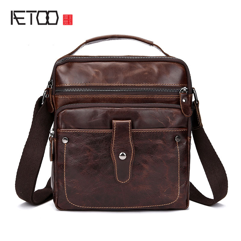 AETOO Oil wax first layer of leather mens business retro leather shoulder Mobile Messenger men small
