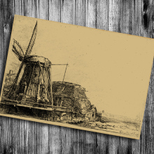 Hot sale the classic Dutch windmill Vintage Poster Retro Kraft Paper Adornment Wall Stickers Adornment Posters cafe bars pub