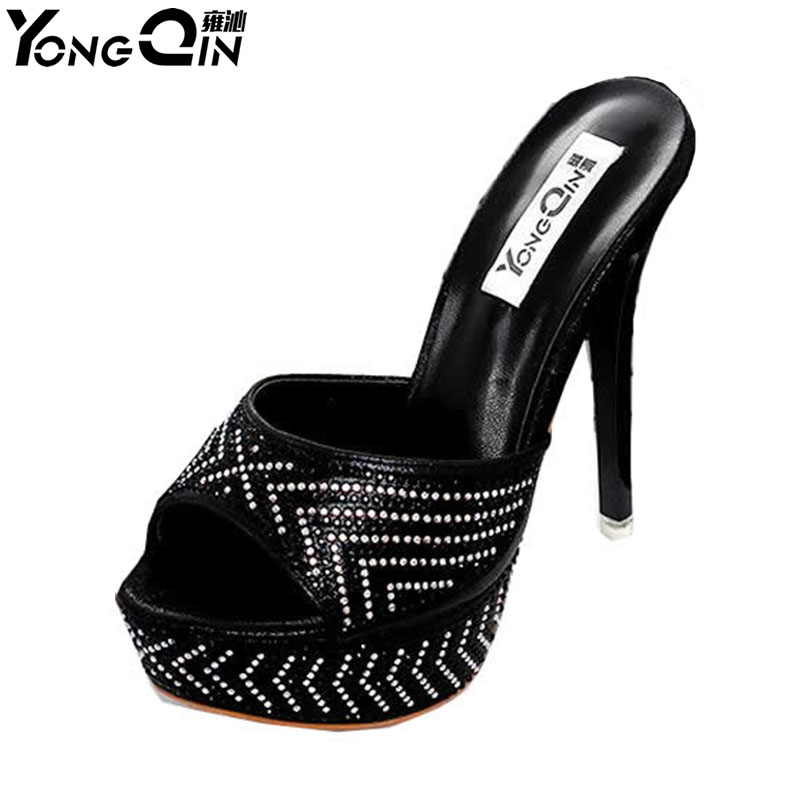 Hot Sales 2 färger 2017 Nya Sexiga Pumps Sandaler Ladies High Heel Sandals Kvinnor Rhinestone Shoes Thin Heels Women Sandals
