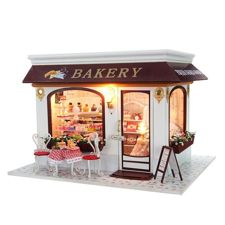Dollhouse Miniature Diy Kit W Light Cake Store Bakery: Provence Bakery DIY Doll House 3D Miniature Light+Music