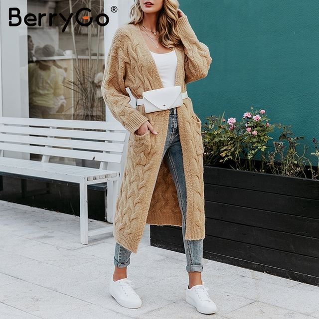 BerryGo Vintage mohair long cardigan women sweaters female Long sleeve pocket winter cardigans Casual knitwear knitted jumpers 4