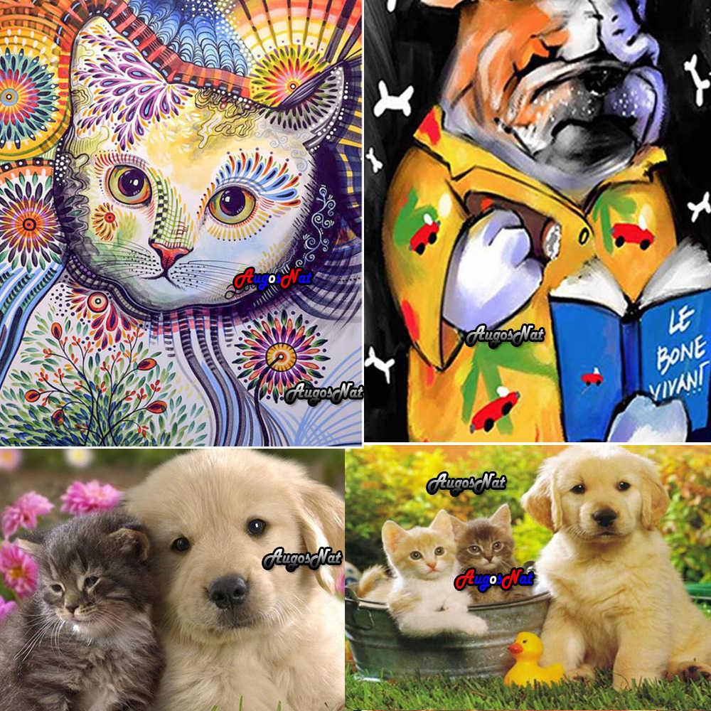 Алмазная вышивка щенка Полный Круглый кот Алмазная вышивка собаки гобелен алмаз dotz картина животные Диамант масляная краска по номерам