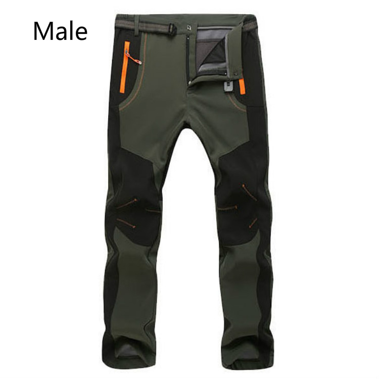 2017 New Winter Men Women Outdoor Softshell Trousers Waterproof Windproof Thermal Ski Climbing Pant S-5XL