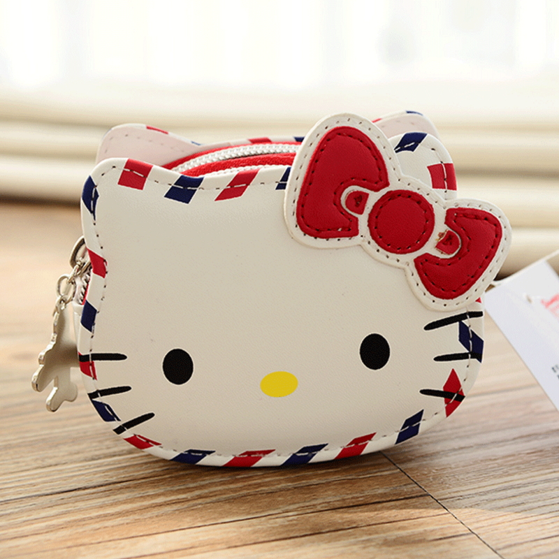 Hello Kitty Red And White Retro Style British Style Zero Wallet Credit Card Holders Limited Memorial