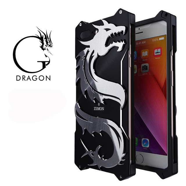 huge sale 3e0de a05c2 US $24.8 |Zimon Cool China Dragon Shockproof Screw Metal case for iPhone 8  Aluminum Phone Cases For iPhone 8 plus 7 7 plus 4.7