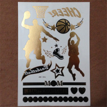1PC Flash Metallic Gold Silver Men Women Henna Body Art Basketball Character Movement Tattoo Desig Tattoo Design Tattoo Sticker