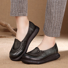 Spring/Autumn Slip-ON Comfortable  Genuine Leather Handmade Shoes Retro Round Toe Slip-ON Comfortable Casual Shoe Pantshoes