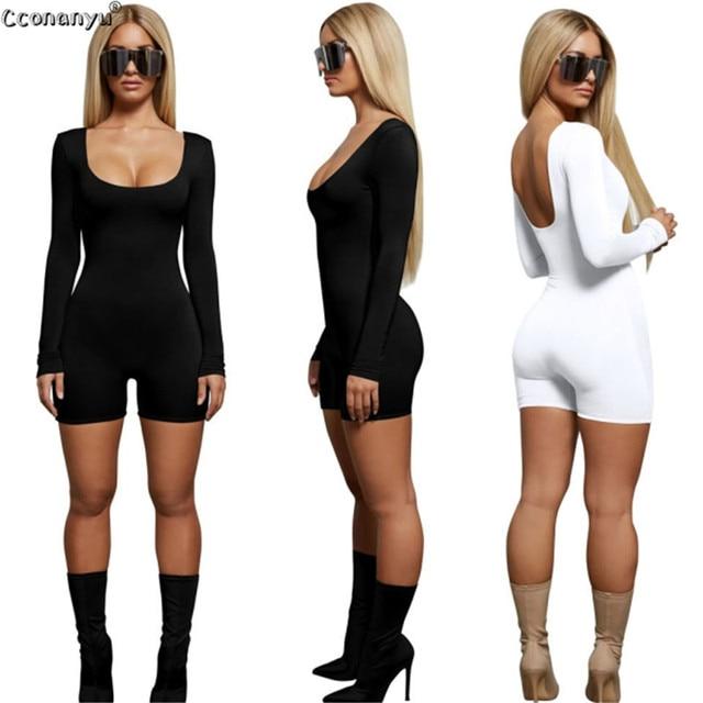 2019 Spring Playsuit for Woman Sexy Long Sleeve Short Playsuit Bodysuit Women Jumpsuit  Black White Women Jumpsuit 1