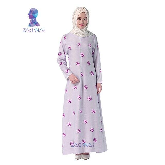 044 Абая Последние Дизайн Мода Печати С Длинным Рукавом Мусульманское Платье Абая Турецкая Исламская Одежда Для Женщин