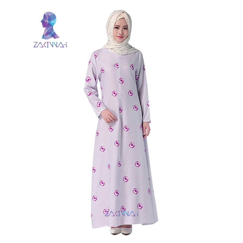 044 Abaya Latest Design Fashion Print Long Sleeve Muslim Dress Abaya Turkish Islamic Clothing For Women