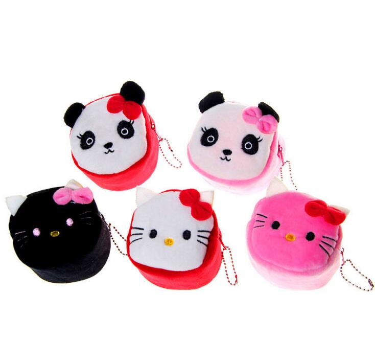 M261 Cute Cartoon Creative Cylindrical Solid Cat And Panda Coin Purse Wallet Card Bag Girl Women Student Gift Wholesale
