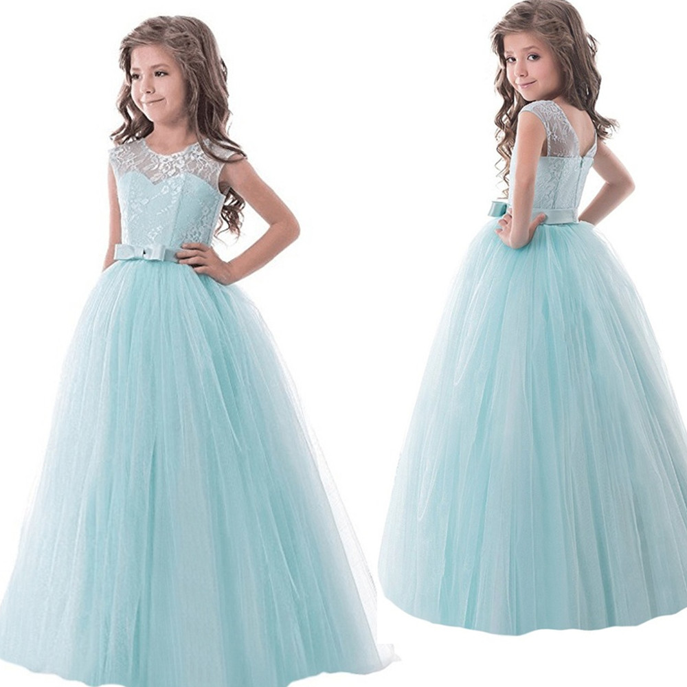 Children Prom Designs Kids Clothes Lace Flower Girls Dresses For Wedding Party Teenage Girl Birthday Dress Frocks 8  10 12 14T купить