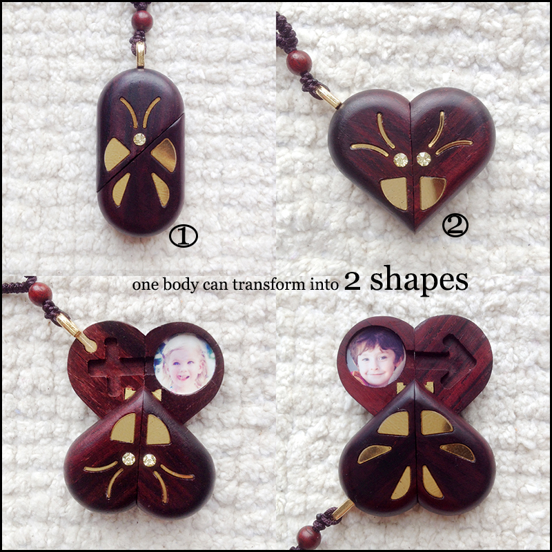 The Illusionist Locket Butterfly Pterocarpus Santalinus Pendant Necklaces Magic Butterfly Trick Christmas Valentine