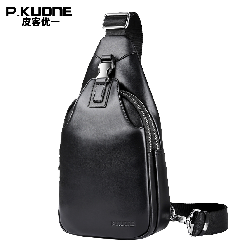 P.KUONE Brand 2018 Black Leather Chest Pack Bag Men Shoulder Crossbody Bag Male Chest Pack Single Strap Bag Colleage Casual bag men s bags chest pack casual single shoulder back strap male bag split leather high capacity chest bag crossbody leather
