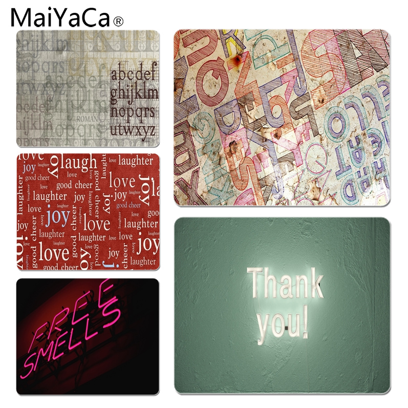 MaiYaCa Cool Colored Letters Gamer Speed Mice Retail Small Rubber Mousepad Size for 180x220x2mm and 250x290x2mm Rubber Mousemats