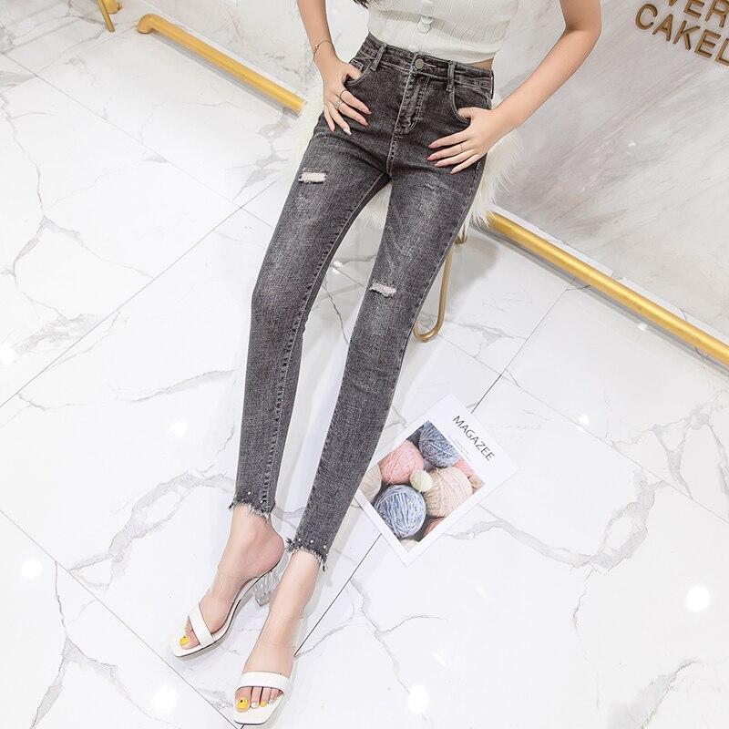 Dark Pengpious Pantalones Denim Lápiz Crooped Retro Con Nuevo Agujeros Mujeres Otoño Apretado Grey Lady Jeans Moda Elástico Lavado aSUqaFw