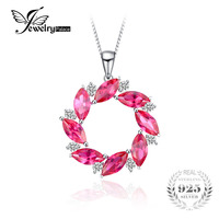 JewelryPalace Luxury Brand 16ct Created Ruby Wreath Pendant Necklace 100 925 Sterling Silver Fine Jewelry Not