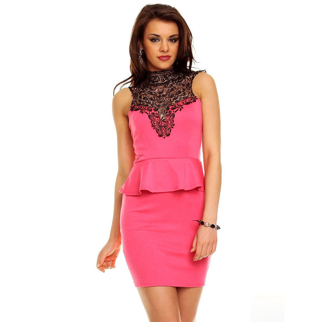 a305bc3a18f Wendywu Women Work Wear Backless Black Lace Patchwork Sleeveless Pink  Bodycon Peplum Dress