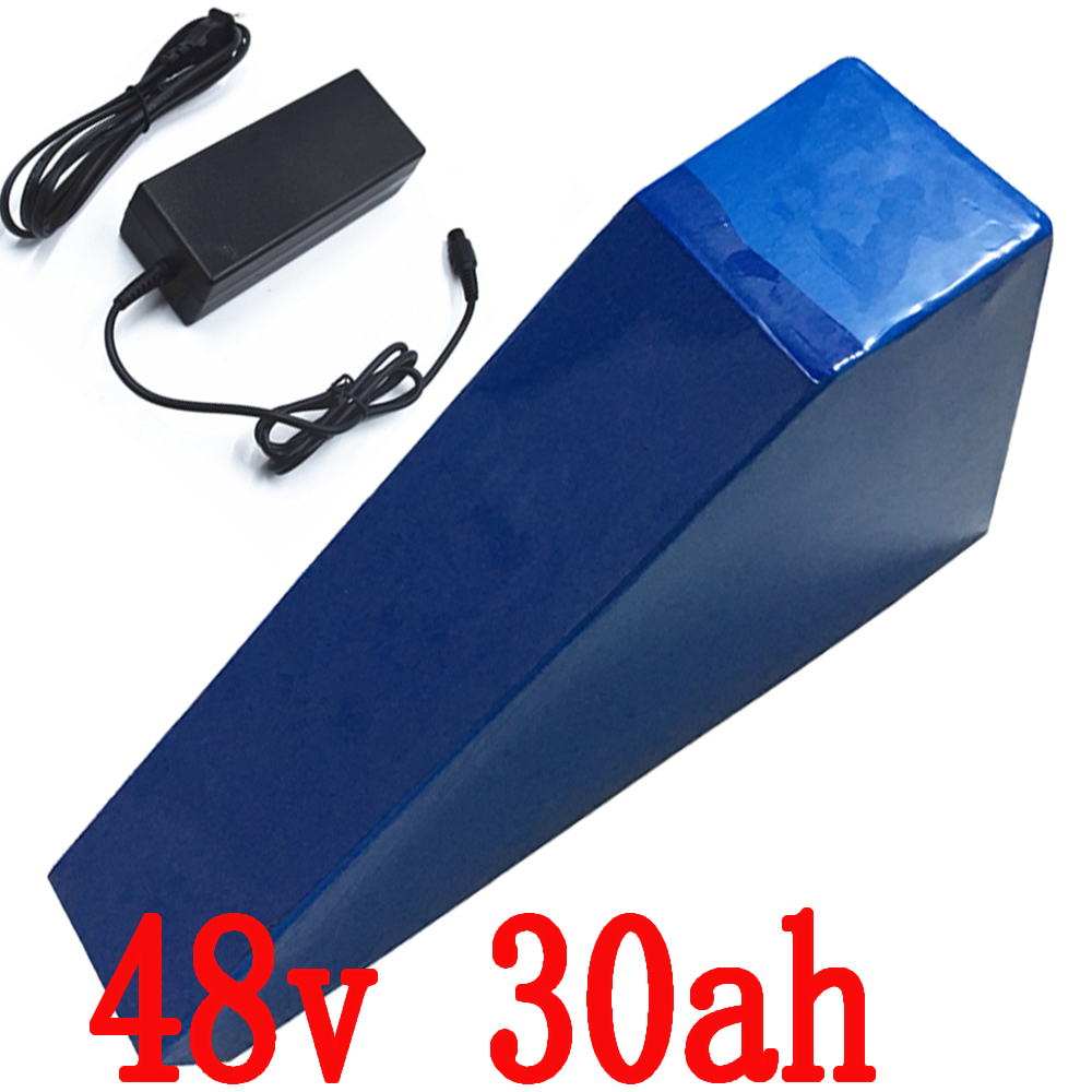 1200W E- Bike Battery 48V 30AH triangle Lithium battery Use for samsung 3000mah cell with PVC Case Free bag 30A BMS 2A Charger 1200w 48v scooter battery electric bike battery 48v 20ah lithium ion battery pack with pvc case 30a bms 54 6v 2a charger