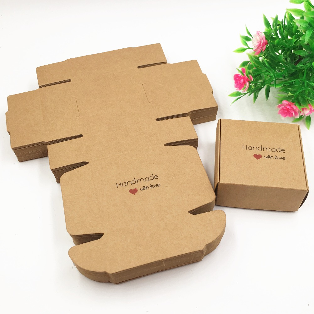 50pcs 65*65*30mm Kraft Paper Aircraft Gift Boxes Handmade Soap Packing Box Jewelry/Cake/Handicraft/Candy Storage Paper Boxes