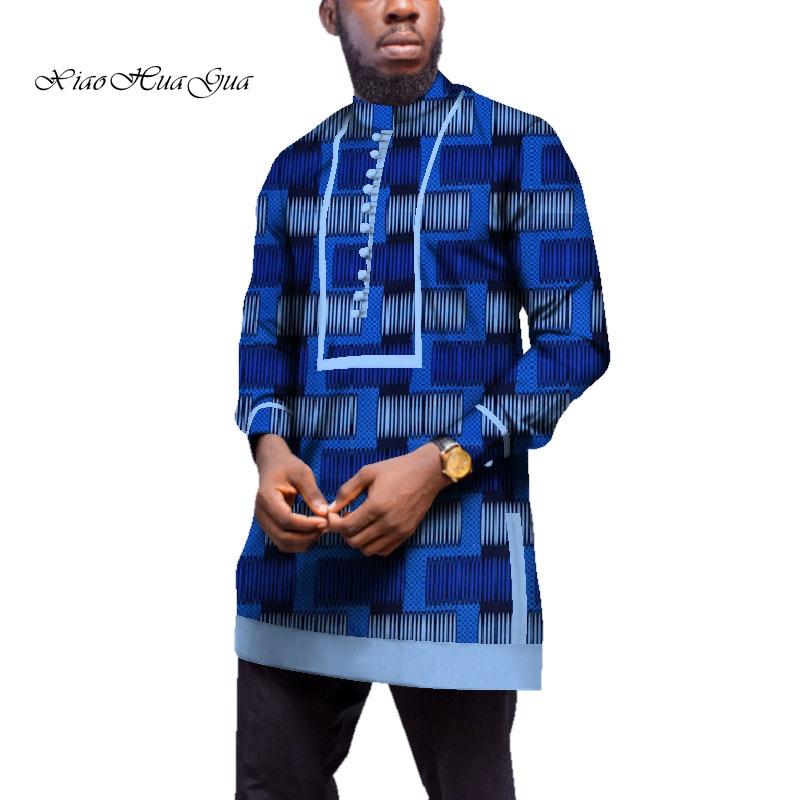 Men Long Sleeve Shirt Traditional African Clothing Bazin Riche Tops Men Casual African Print Long Shirt Coat WYN539