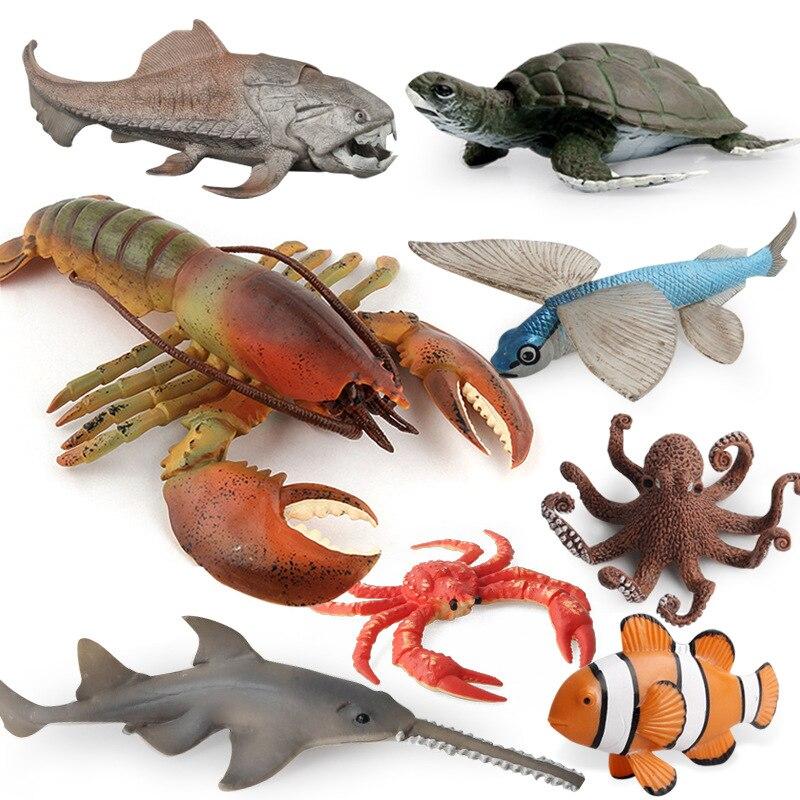 Ocean Sea Life Model Underwater World Crab Dolphin Octopus Action Figure Aquarium Accessories Marine Animals Model Kids Toy