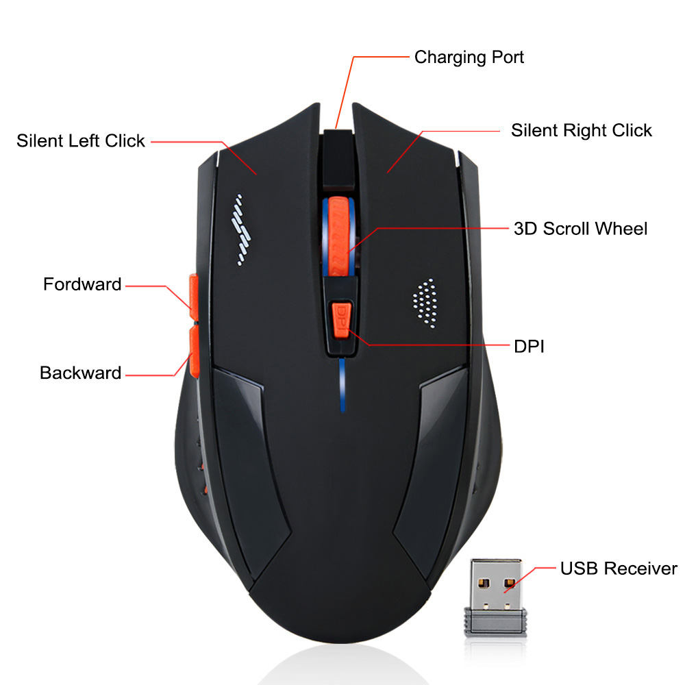 2400DPI Gaming Mice Wireless Mouse Rechargeable Slient Buttons Computer Mouse Built in Lithium Battery 2.4G Optical Engine Mouse Mice    - title=